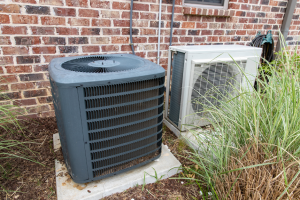 AC condenser outside of a house in Naperville, Illinois