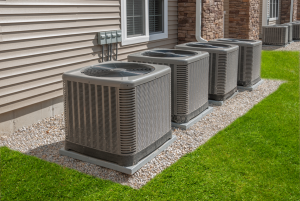 Air conditioning condensers at an apartment in Clarendon Hills, Illinois