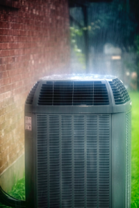 HVAC condenser outside of a home in Western Springs, Illinois