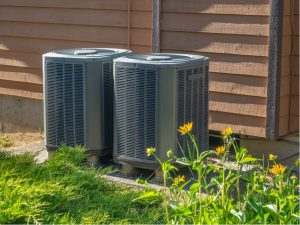 HVAC condenser unit outside of a house in Woodridge, Illinois