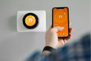 Smart thermostat at a house in Oak Brook, Illinois